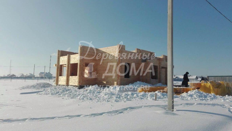 Продолжаются работы по строительству дома из клееного бруса в д. Кукарино (14.02.2018)