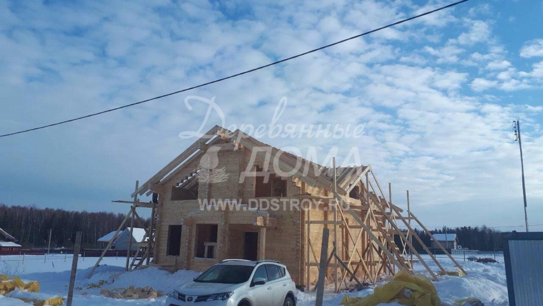 Закончены работы по монтажу деревянного комплекта из клееного бруса в д. Кукарино (13.03.2018)
