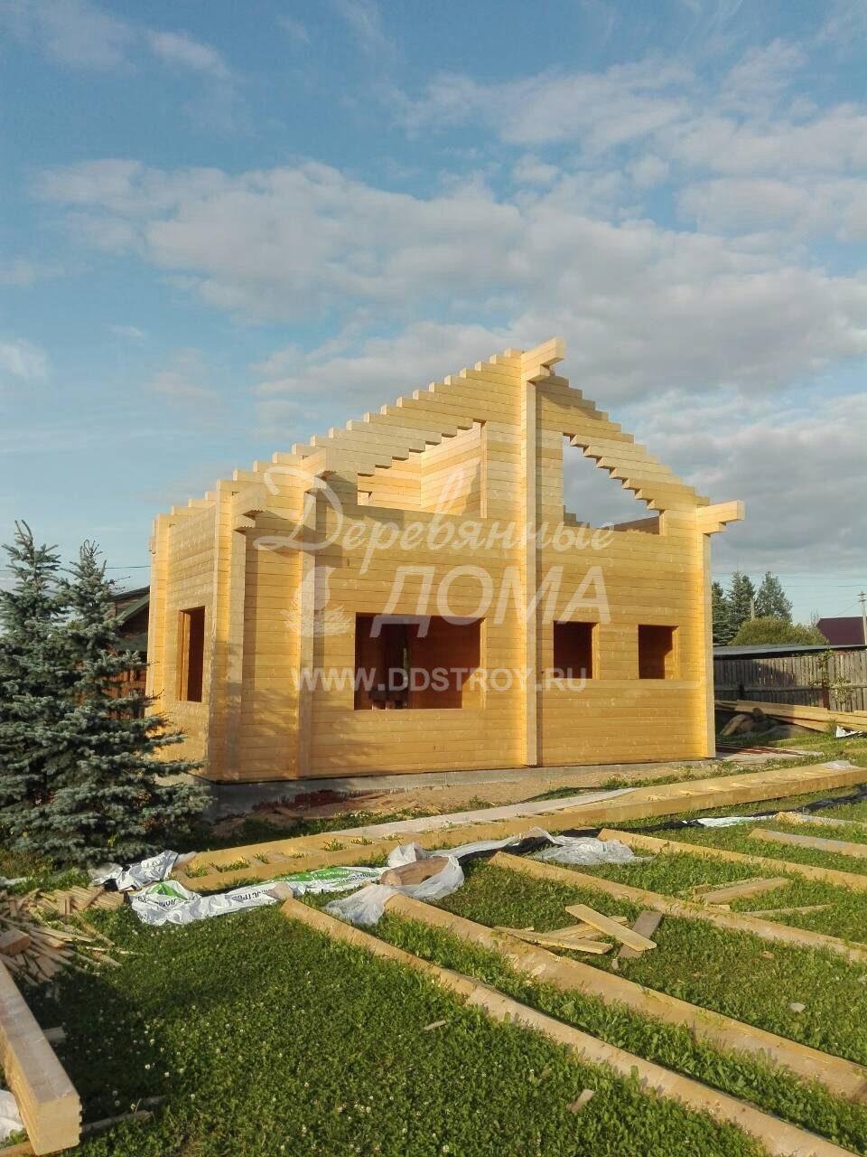 Завершена сборка деревянного комплекта дома из клееного бруса в д. Рожново(17.08.2018)