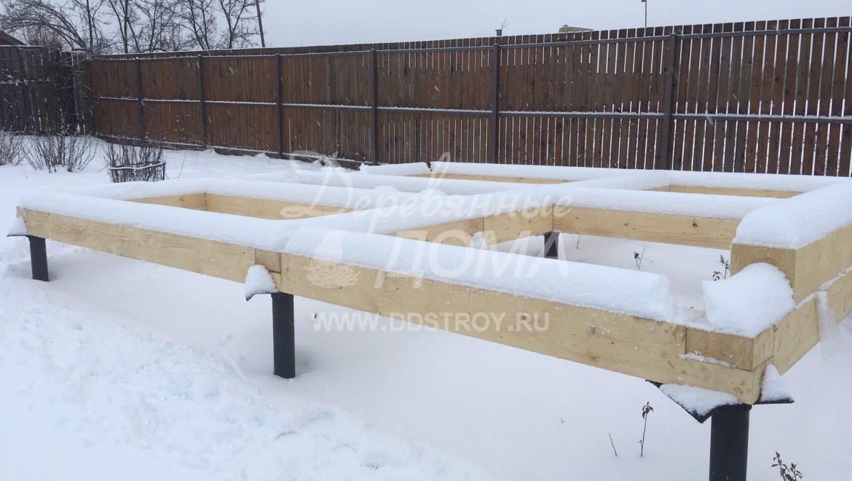 Начало работ по монтажу бани из оцилиндрованного бревна в д .Рожново (24.01.2019)