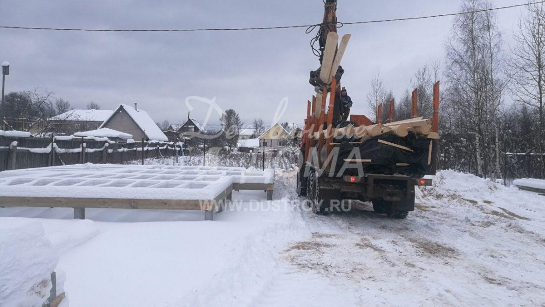 Фундамент построен, материал завезен, начинаем строительство бани в д. Песочнево (17.01.2019)