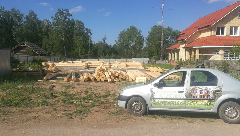 Начало работ по монтажу деревянного комплекта жилого дома в д. Песочнево (10.06.2019)