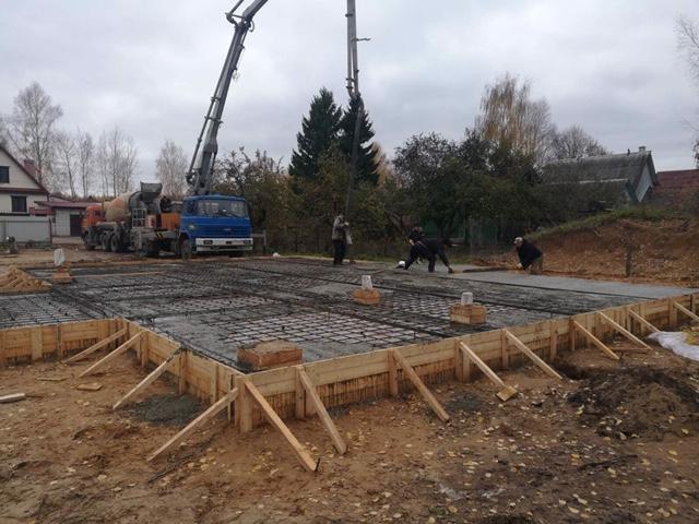 Устройство фундамента под строительство жилого дома из клеенного бруса в д. Слобода (15.10.2019)