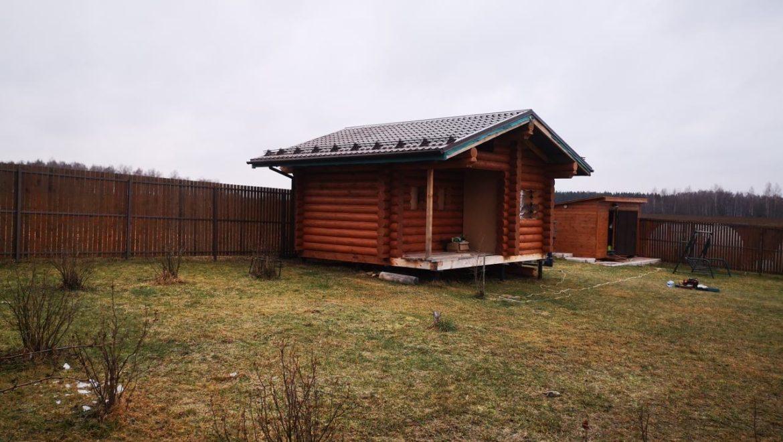 Завершенны кровельные работ в бане из оцилиндрованного бревна в д. Рожново (13.12.2019).