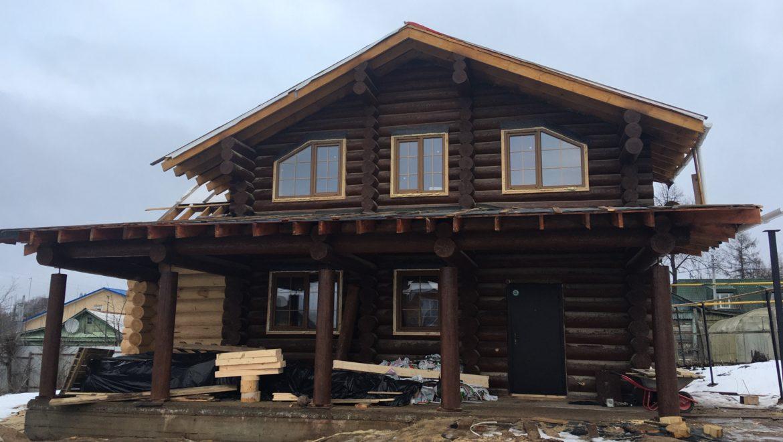 Завершена установка окон в доме из рубленного бревна в г. Иваново (17.01.2020)