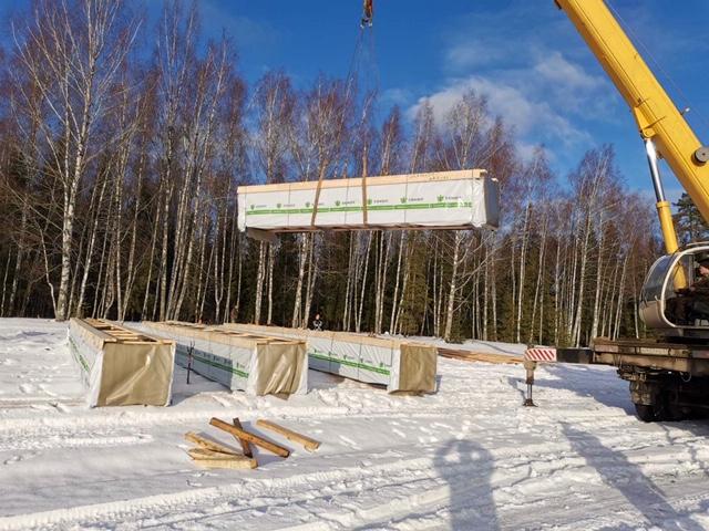 Доставка деревянного комплекта на строительный объект в д. Худынино (22.01.2020)
