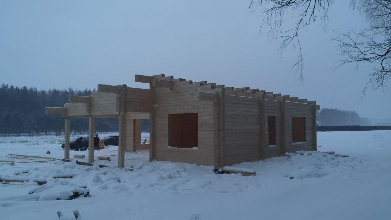 Завершена сборка деревянного комплекта одноэтажного жилого дома по проекту «Линда» в д. Худынино (30.01.2019)