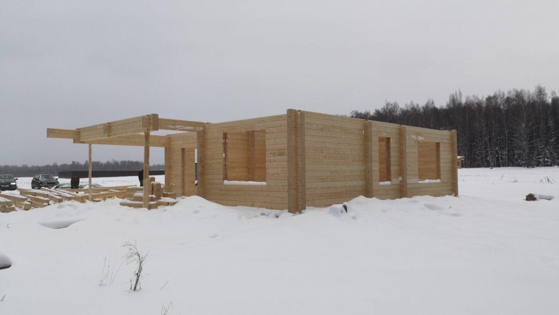 Монтаж деревянного комплекта жилого дома из клееного бруса в д. Худынино (07.02.2020)