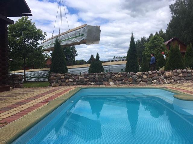 Доставка деревянного комплекта жилого дома из клееного бруса на строительную площадку в п. Березовая роща (30.06.2020)