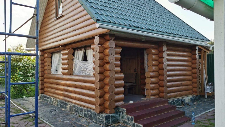 Завершена покраска фасадов маслом Biofa, рубленной бани в поселке Ново-Талицы (07.06.2021)