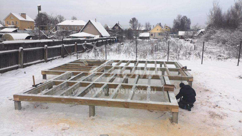 Устройство фундамента под строительство бани в д. Песочнево (21.12.2018)