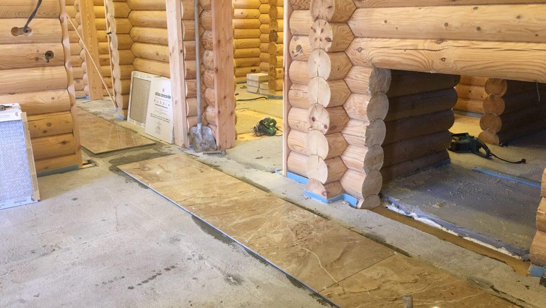 Внутренние отделочные работы в бане из оцилиндрованного бревна в д. Анкудиново (18.06.2019)