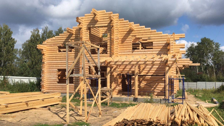 Завершен монтаж деревянного комплекта, начало работ по монтажу стропильной системы в д. Песочнево (02.09.2019)