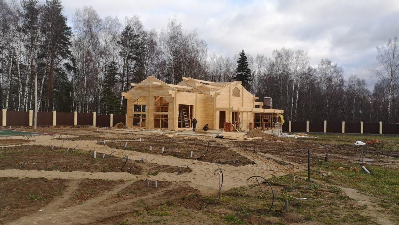 Завершение работ по монтажу деревянного комплекта бани в д. Кривцово (28.10.2019)