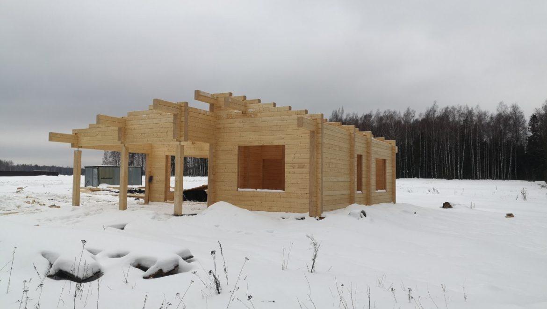 Завершена сборка деревянного комплекта жилого дома из клееного бруса в д. Худынино (12.02.2020)