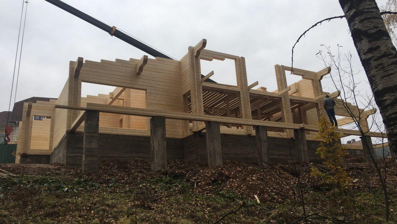 Ход работ по монтажу деревянного комплекта жилого дома в п. Говядово (13.10.2020)
