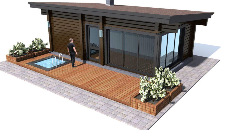 Начало работ по монтажу небольшой, современной бани из клеенного бруса(30.06.2021)